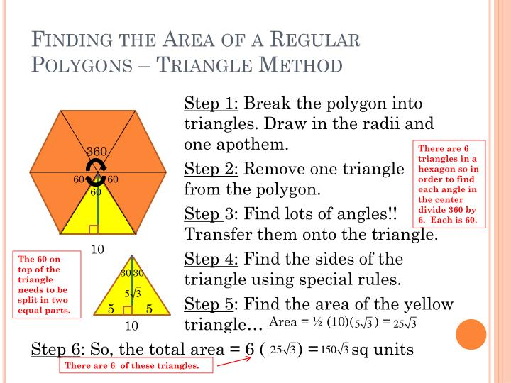 Finding the area of a regular polygons triangle method