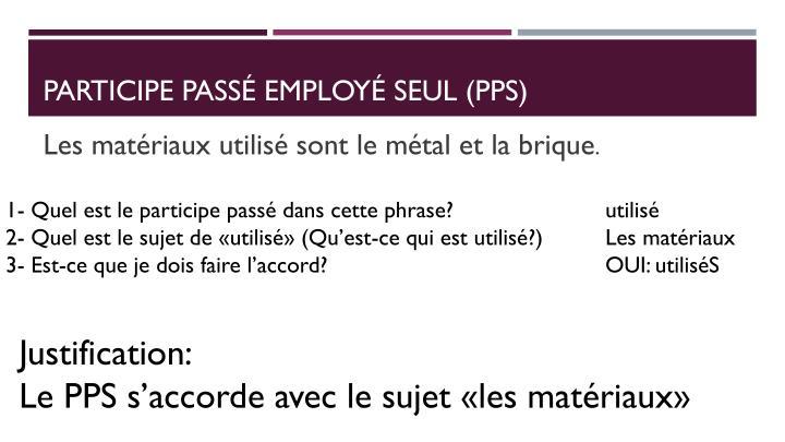 Participe pass employ seul pps1