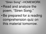 siren song homework