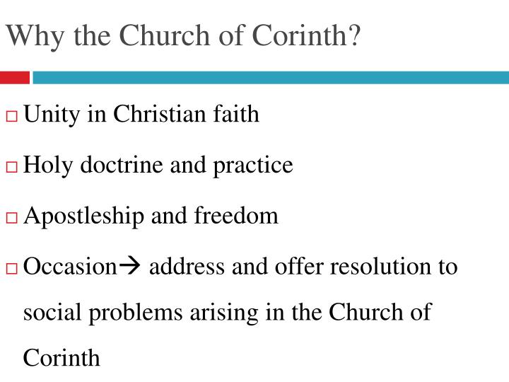 Why the Church of Corinth?