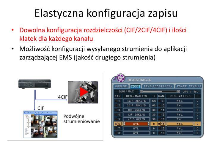 Elastyczna konfiguracja zapisu