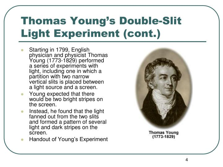 Starting in 1799, English physician and physicist Thomas Young (1773-1829) performed a series of experiments with light, including one in which a partition with two narrow vertical slits is placed between a light source and a screen.