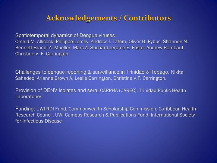 Acknowledgements / Contributors