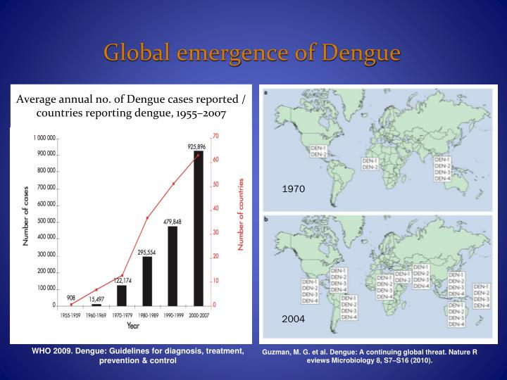 Average annual no. of Dengue cases reported / countries reporting dengue, 1955–2007