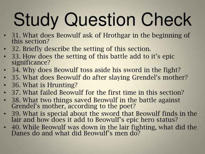 Study Question Check
