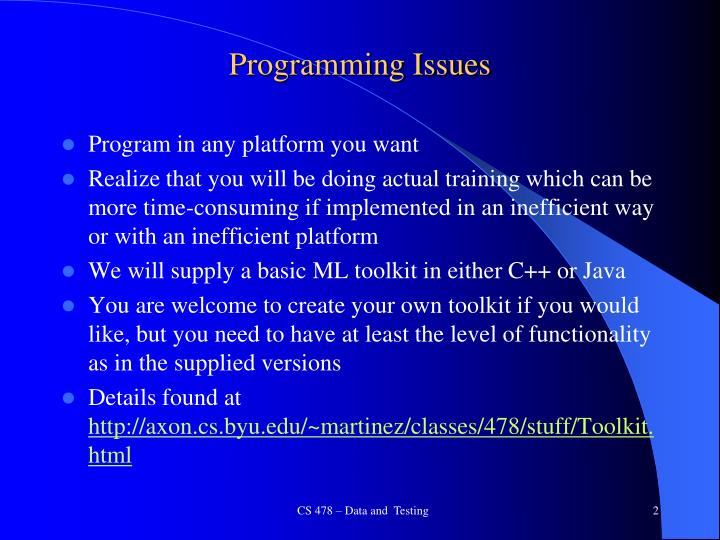 Programming issues
