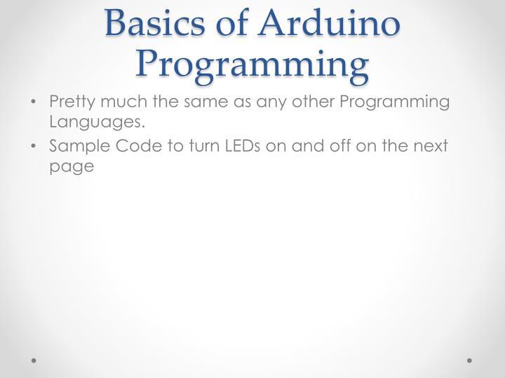Basics of Arduino Programming