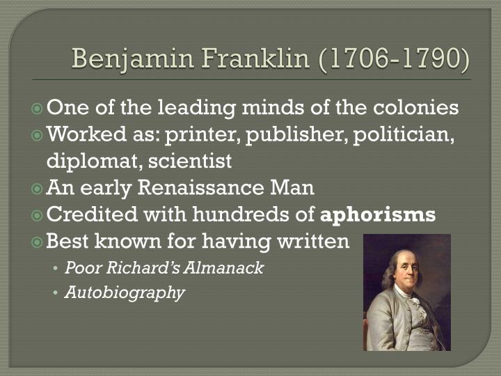 Benjamin franklin 1706 1790