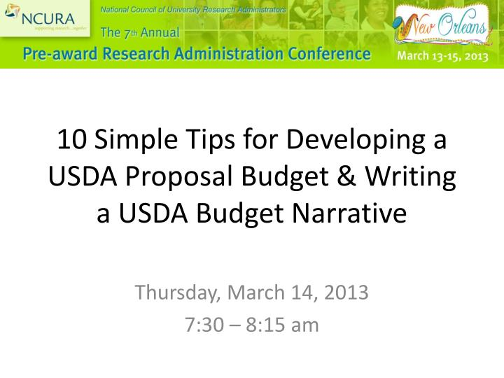 PPT - 10 Simple Tips for Developing a USDA Proposal Budget & Writing