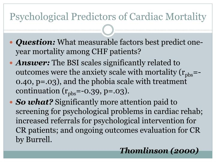Psychological Predictors of Cardiac Mortality