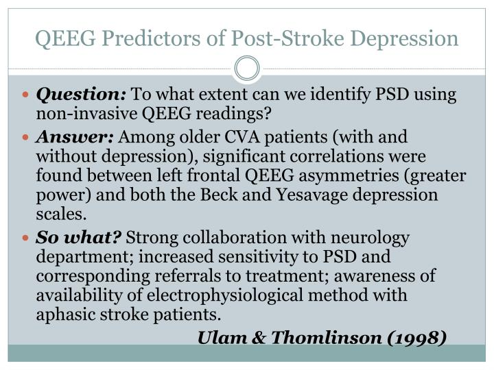 QEEG Predictors of Post-Stroke Depression