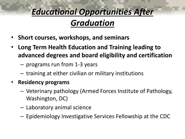 Educational Opportunities After Graduation
