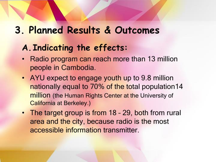 3. Planned Results & Outcomes