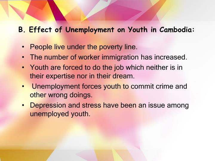 B effect of unemployment on youth in cambodia