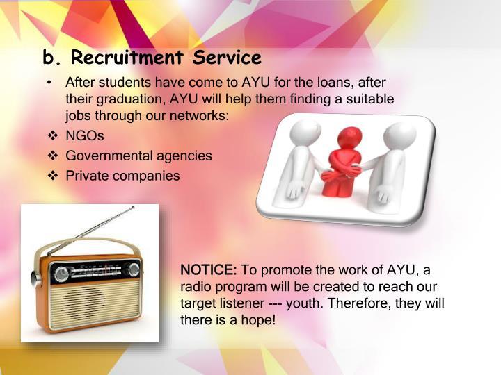 b. Recruitment Service
