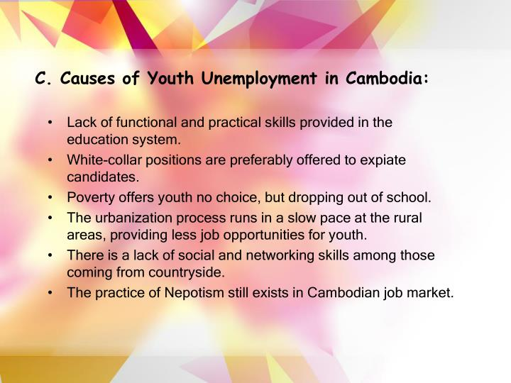 C. Causes of Youth Unemployment in Cambodia: