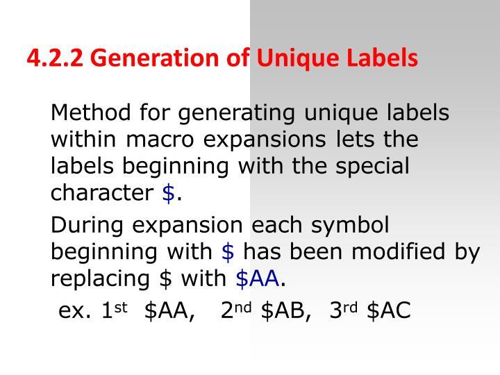4.2.2 Generation of Unique Labels