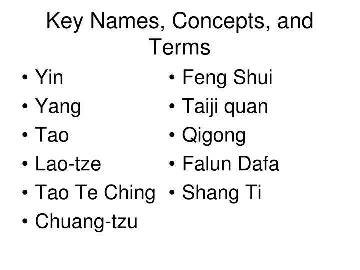 Key names concepts and terms