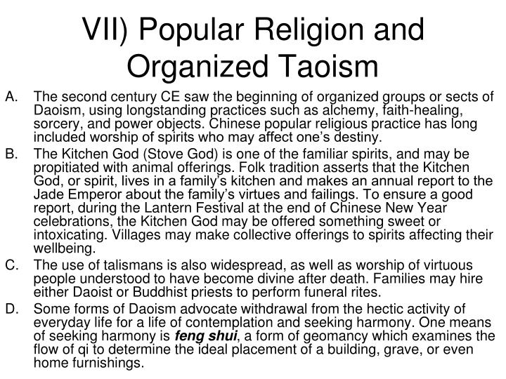 VII) Popular Religion and Organized Taoism