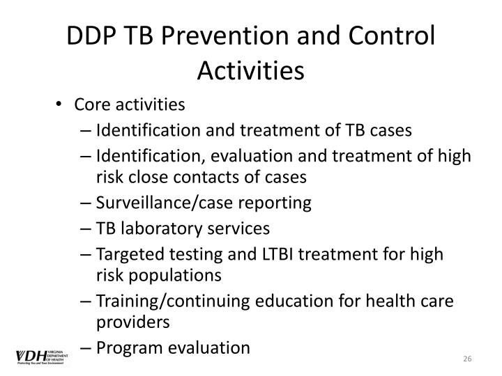 DDP TB Prevention and Control Activities