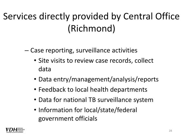 Services directly provided by Central Office (Richmond)