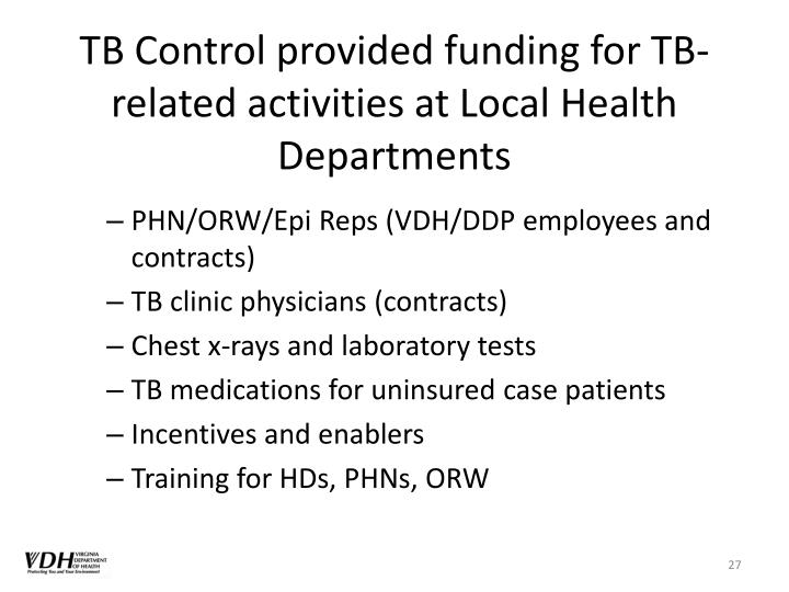 TB Control provided funding for TB-related activities at Local Health Departments