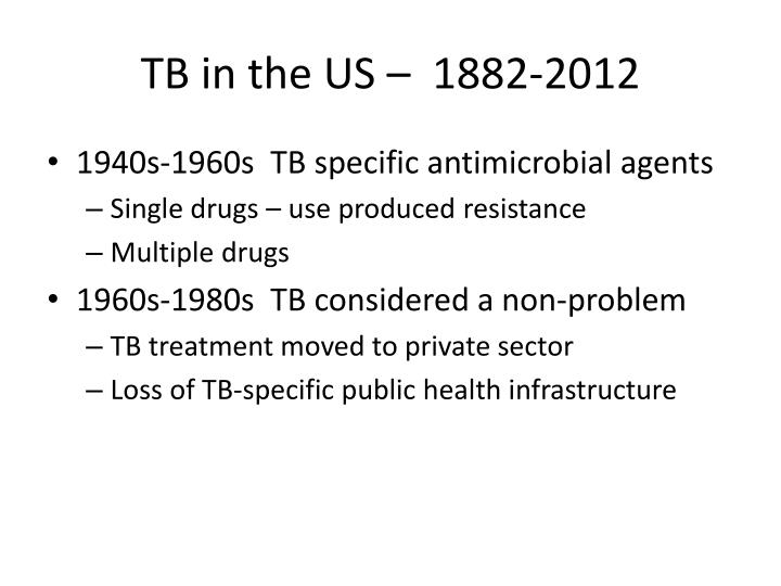TB in the US –  1882-2012
