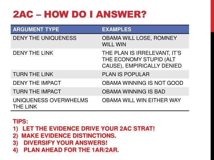 2AC – HOW DO I ANSWER?