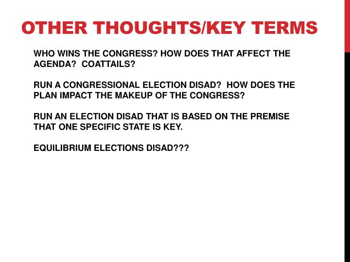 OTHER THOUGHTS/KEY TERMS