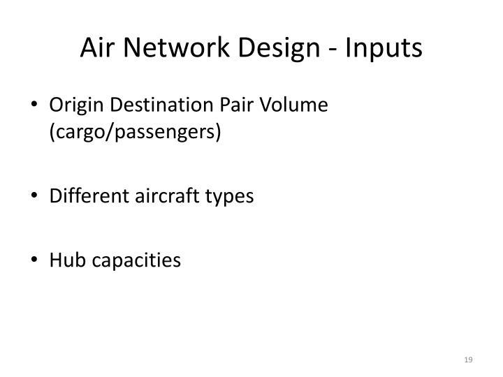 Air Network Design - Inputs