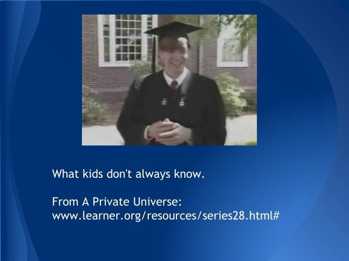 What kids don t always know from a private universe www learner org resources series28 html