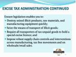 excise tax administration continued