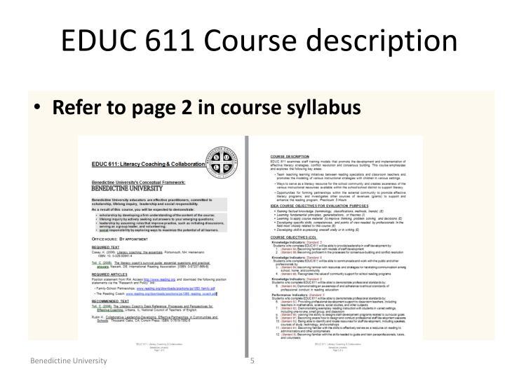 EDUC 611 Course description