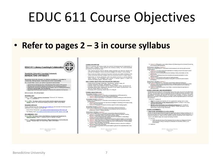 EDUC 611 Course Objectives