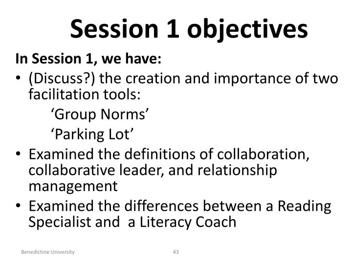 Session 1 objectives