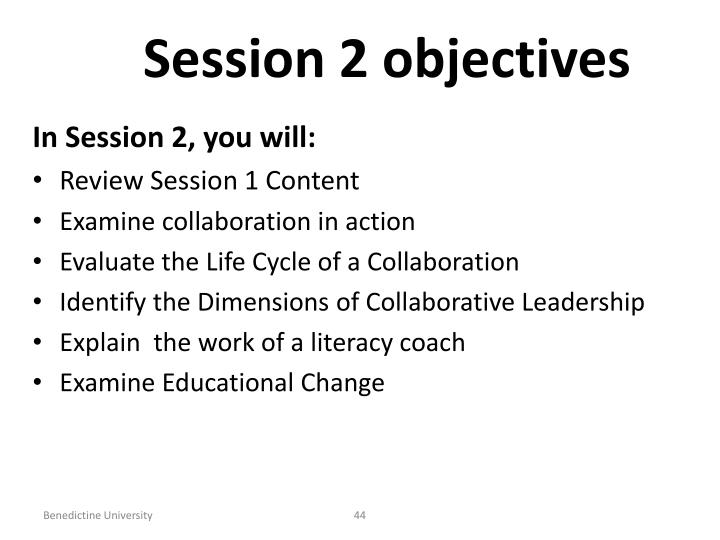 Session 2 objectives
