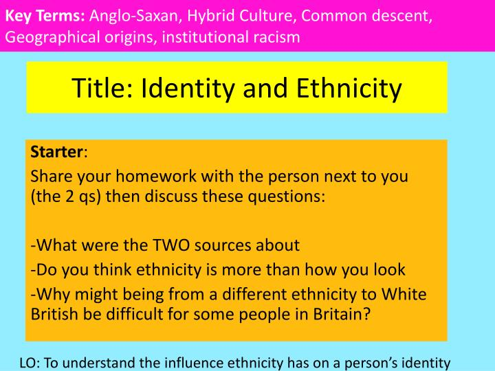 Title identity and ethnicity
