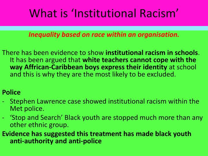 What is 'Institutional Racism'