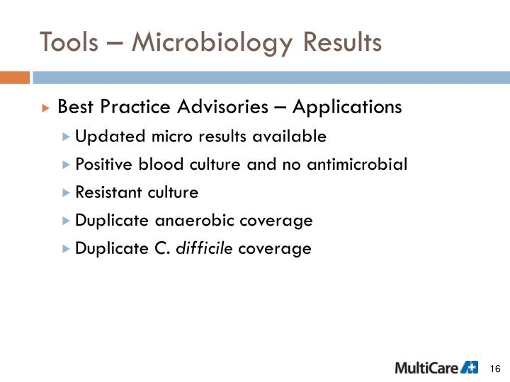 Tools – Microbiology Results
