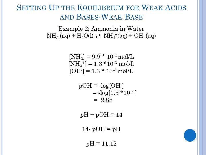 Setting Up the Equilibrium for Weak Acids and Bases-Weak Base