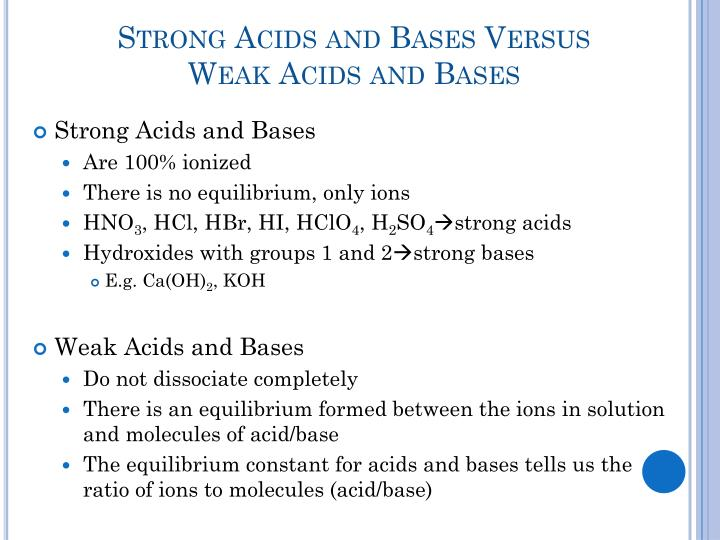 Strong Acids and Bases Versus