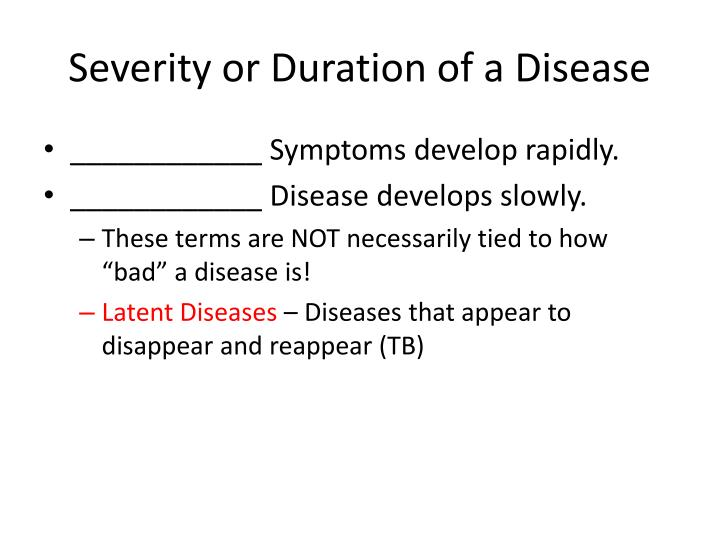 Severity or Duration of a Disease