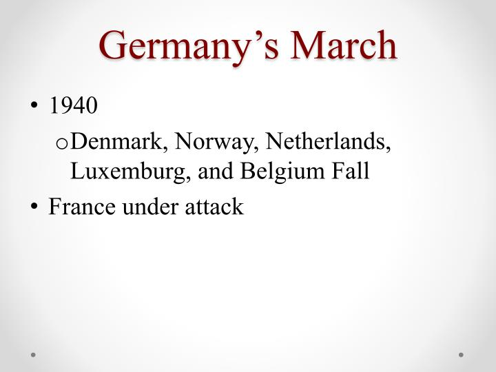 Germany's March