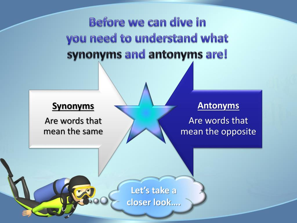 PPT - Diving Deep for Synonyms and Antonyms PowerPoint