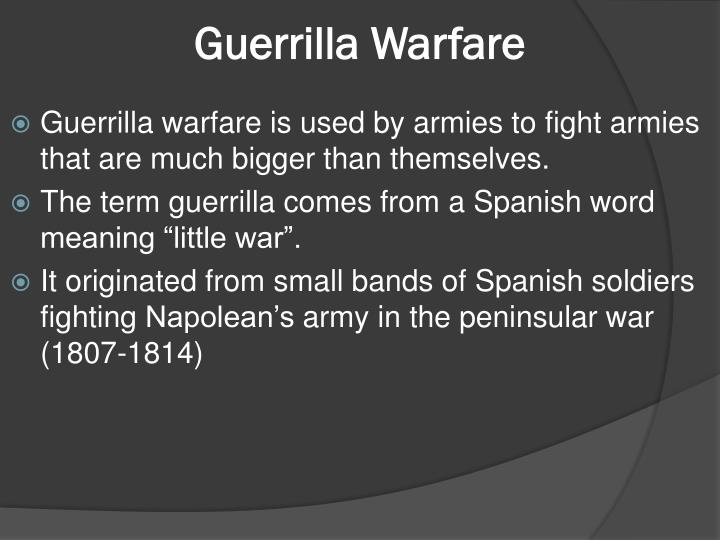 a description of the spanish word guerrilla meaning little war The spanish-american war was a four-month conflict between spain and the united states, provoked by word of spanish colonial brutality in cuba although the war was largely brought about by the efforts of us expansionists, many americans supported the idea of freeing an oppressed people controlled by the spanish.