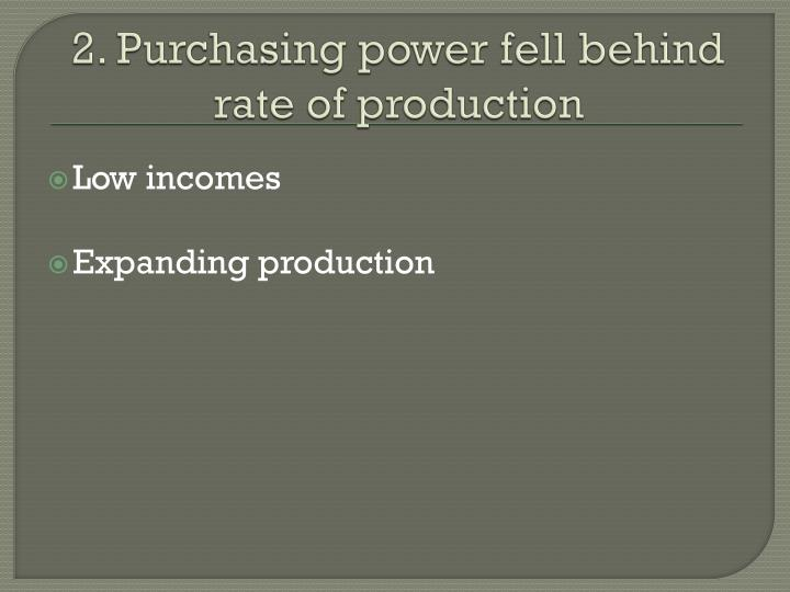 2. Purchasing power fell behind rate of production