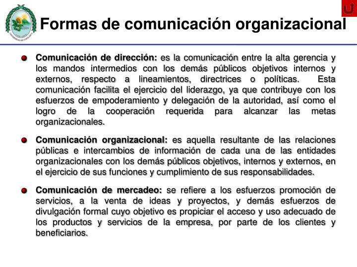 Formas de comunicación organizacional