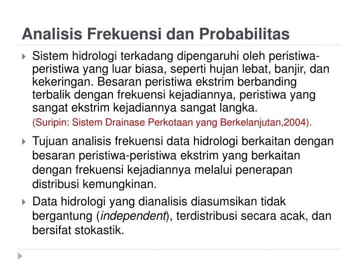 Analisis frekuensi dan probabilitas