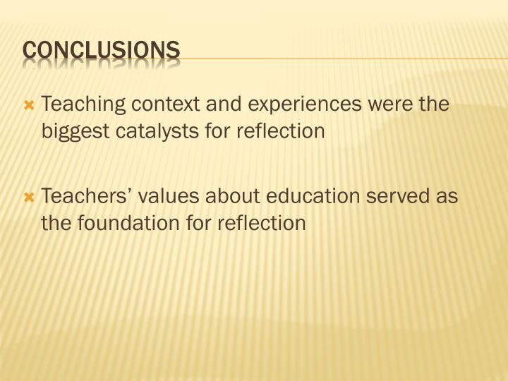 Teaching context and experiences were the biggest catalysts for reflection