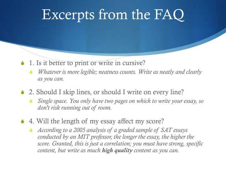 Excerpts from the FAQ